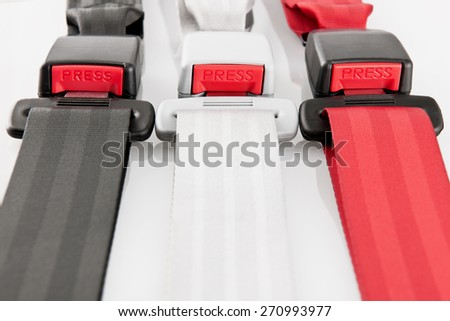 Colored seat belt - stock photo