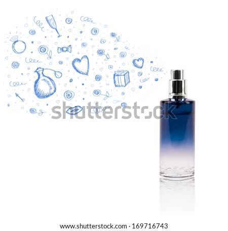 Colored sketches coming out from beautiful perfume bottle - stock photo