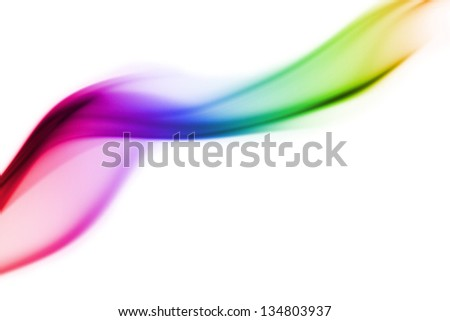 colored smoke curves isolated on white background - stock photo