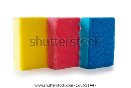 Colored sponges  isolated on a white background - stock photo