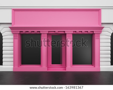 Colored store with empty showcase - stock photo