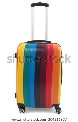 colored suitcase isolated on white background - stock photo