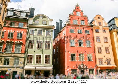 Colored Swedish homes. Homes in city centre. - stock photo
