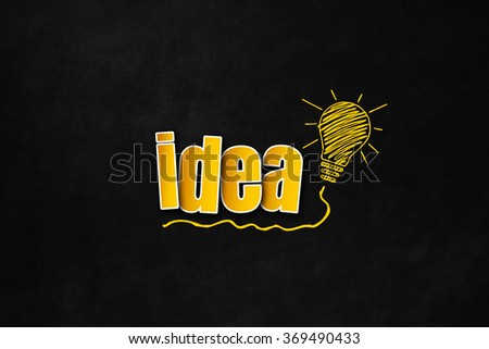 Colored text on blackboard with a lightbulb for creative concept. Idea concept isolated on blackboard with copy space. Hand drawn yellow lightbulb for innovation slogan - stock photo