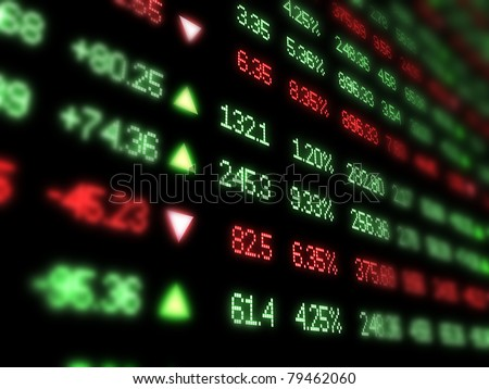 Colored ticker board on black - stock photo