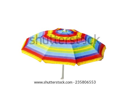 Colored umbrella isolated on white surface. - stock photo