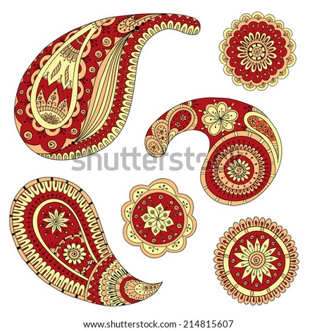 Colored Version Of Henna Paisley Mehndi Abstract Floral Asian  Illustration Design Element. Doodle Style. Series Of Ethnic Decorative Elements For Design. - stock photo