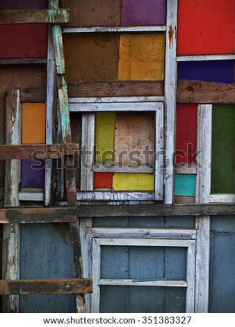 colored wooden squares - stock photo