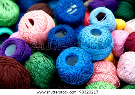 colored yarn - stock photo