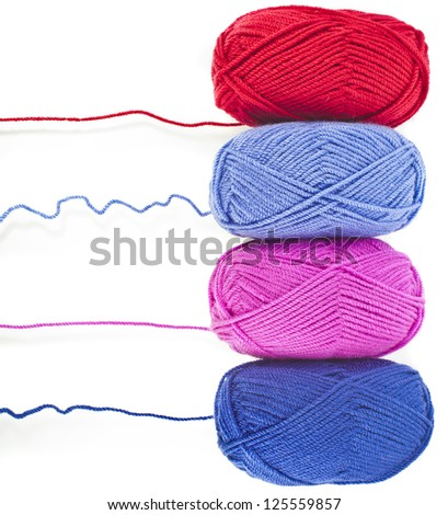 colored yarn thread isolated on white background - stock photo
