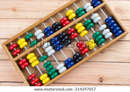 Colorful abacus on a wooden table. - stock photo