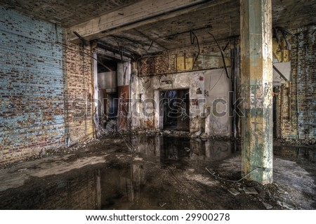 Colorful Abandoned Factory - stock photo