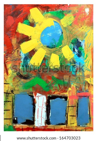 Colorful Abstract and Whimsical Original Sun Painting - stock photo