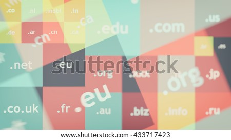 Colorful abstract background with domain names - stock photo