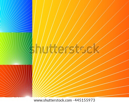Colorful abstract backgrounds with radial lines. Radiating, bursting shapes over bright, vibrant backdrops. Set of 4 color and version. - stock photo