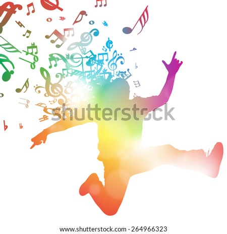 Colorful abstract illustration of a Young Man dancing and Leaping through a haze of musical notes and summer blurs. - stock photo