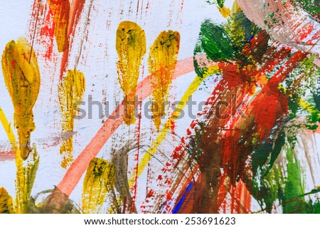 Colorful abstract paints is handmade on canvas - stock photo