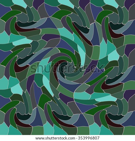COLORFUL ABSTRACT PATTERN imitating a whir pool. Realized in tints of green and blue colors. Print design. For textile fabrics, wallpapers, background, warping paper, backdrops, packaging paper etc.  - stock photo