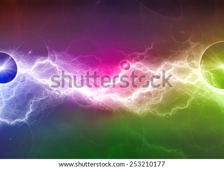 Colorful abstract psychedelic lightning - stock photo