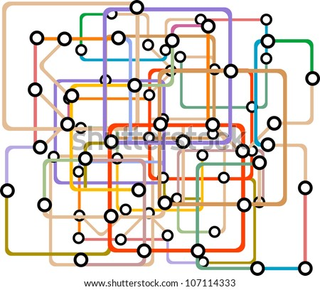 Colorful abstract subway map. Raster - stock photo
