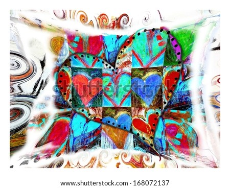 Colorful Abstract Valentine's Day Heart - stock photo