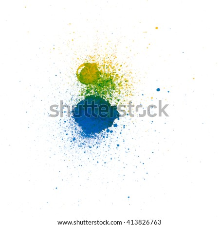 Colorful abstract watercolor stain with splashes and spatters. Modern creative background for trendy design. - stock photo