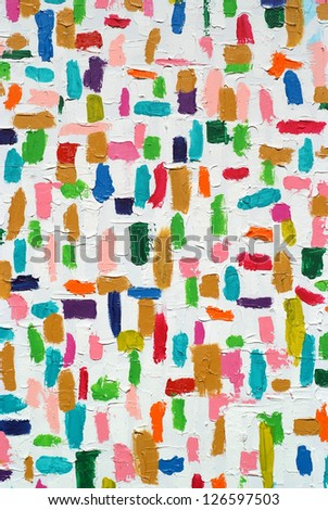 Colorful acrylic color brush strokes on white texture, on canvas - stock photo
