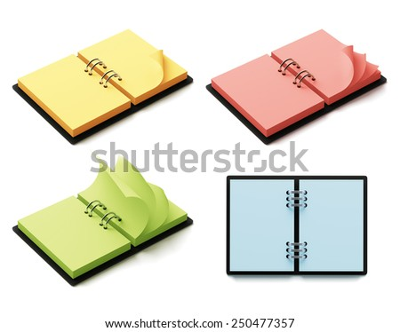 Colorful agenda with copys-pace isolated on white background - stock photo