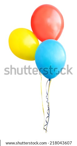 Colorful air balloons isolated on white background - stock photo