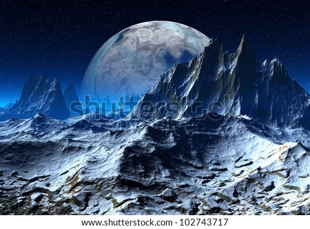 Colorful Alien Planet with a Moon - stock photo