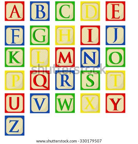 Colorful alphabet baby blocks raster set, building blocks, latin alphabet font - stock photo