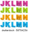 Colorful alphabet. Set of 3d letters isolated on white. Part 3 of 6. - stock photo