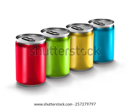 colorful aluminum can isolated on white background - stock photo