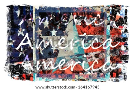 Colorful American Flag Art - stock photo