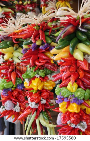 colorful and decorative, hanging chili pepper assortment - stock photo