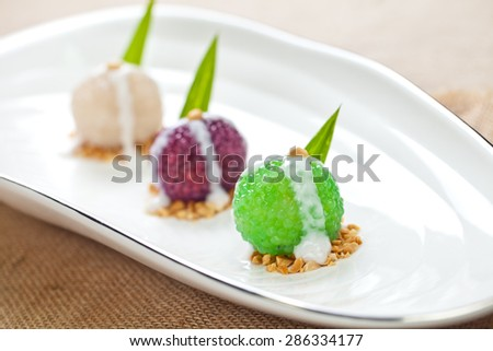 Colorful and delicious cakes which is made of glutinous rice  - stock photo