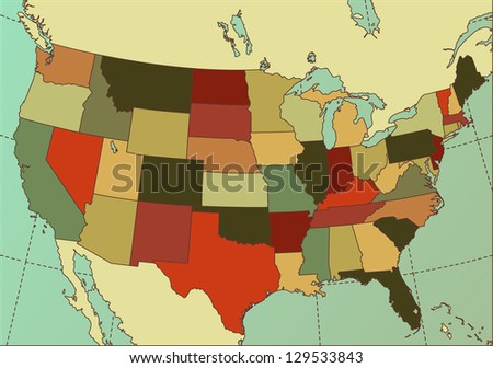 Colorful and Detailed USA Map. Cartography collection. - stock photo