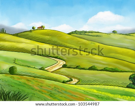 Colorful and relaxing rural landscape. Digital illustration. - stock photo