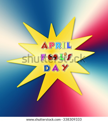 Colorful april fools day illustration over gold explosion background banner - stock photo