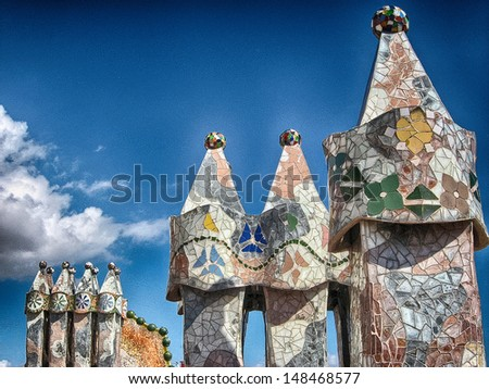 Colorful architecture by Antonio Gaudi. Parc Guell is the most important park in Barcelona. Spain. - stock photo