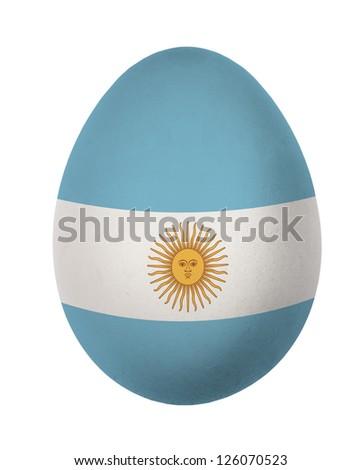 Colorful Argentina flag Easter egg isolated on white background - stock photo