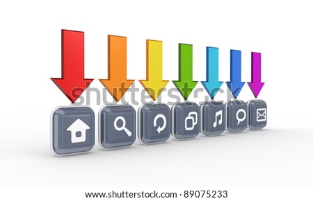 Colorful arrows and simple icons.Isolated on white background.3d rendered. - stock photo