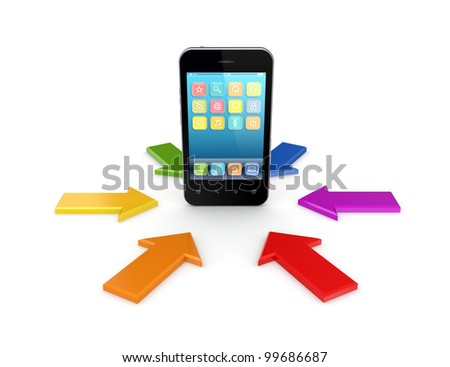 Colorful arrows around modern mobile phone.Isolated on white background.3d rendered. - stock photo