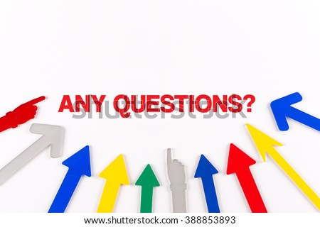 Colorful arrows showing to center with a word ANY QUESTIONS? - stock photo