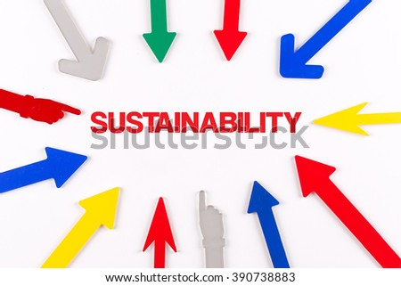 Colorful arrows showing to center with a word SUSTAINABILITY - stock photo