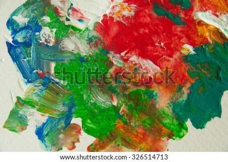 Colorful art painting abstract background by hand painted with acrylic colors on paper - stock photo