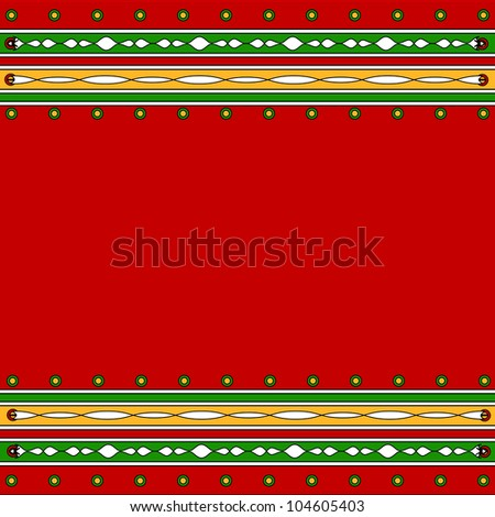 Colorful artistic border in green and red - stock photo