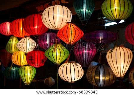 Colorful Asian lanterns at night - stock photo