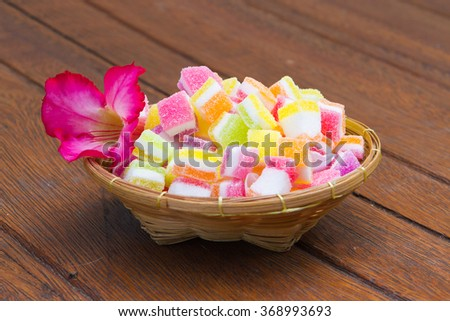 Colorful Assorted Sweet Candy on wooden background - stock photo