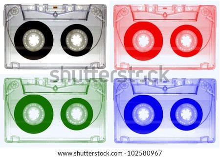 Colorful audio cassettes - stock photo
